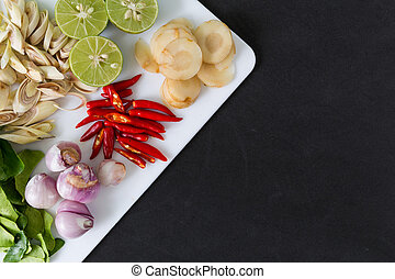 tailandês, tom, yum, sopa, ingredientes