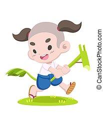 tailandês, tradicional, banana, hobbyhorse, jogo, montando, ...