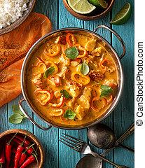 tailandese, aragosta, noce di cocco, rosso, curry