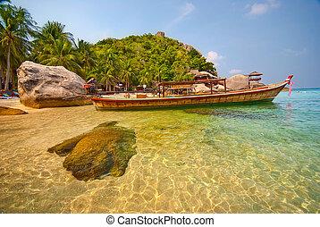tailandese, barca, laguna
