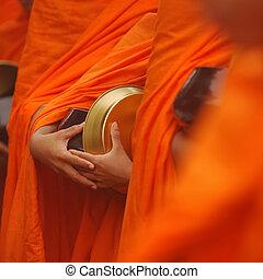 tailandese, buddista, ciotola, monaco, elemosina