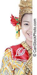 tailandese, giovane, antico, ritratto, tailandia, wea, ballo, signora