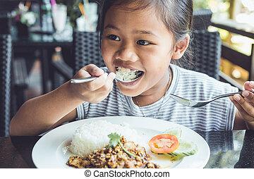 tailandese, mangiare, bambini, ristorante