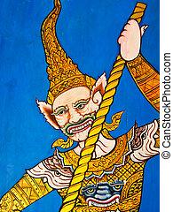 tailandese, pittura, su, parete, di, tempio