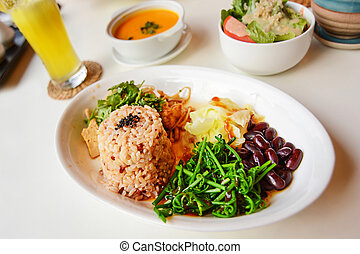 tailandese, riso, bio, cibo