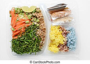tailandese, riso, insalata