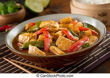 tailandese, rosso, curry, con, pollo