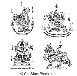 tailandese, tatuaggio, antico, vettore