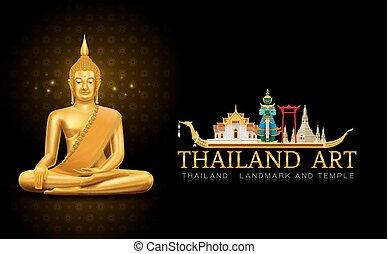 tailandia, arte, buddha, estatua, señal, y, patrón