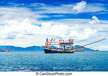 tailandia, barco, andaman, pesca, mar