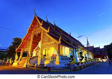 tailandia, chiangmai, templo, noche