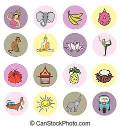 tailandia, conjunto, icono