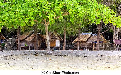 tailandia, costa, chozas, océano