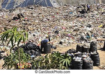 Tailandia, doméstico, basura, pila