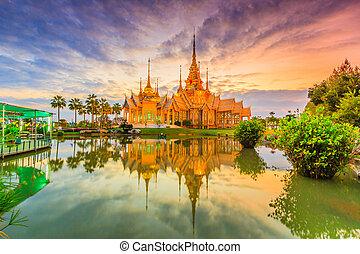 tailandia, dominio, budismo, tesoro, o, público, templo