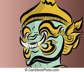 tailandia, gigante, estilo, cara