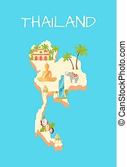 tailandia, isla, aislado, en, azur, fondo.