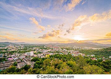 tailandia, khao, provincia, ocaso, punto de vista, ciudad,...