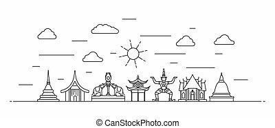 tailandia, línea, panorama, estilo