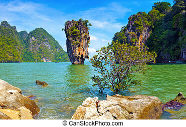 tailandia, nature., james, bono, isla, vista, paisaje...