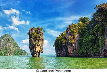 tailandia, nature., james, obrigação, ilha, vista, paisagem tropical