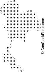 tailandia, punteggiato, mappa