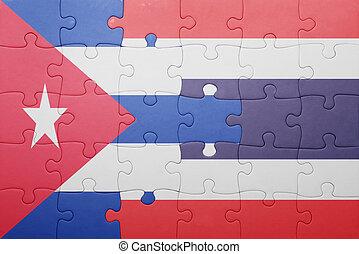 tailandia, quebra-cabeça, bandeira, nacional, cuba