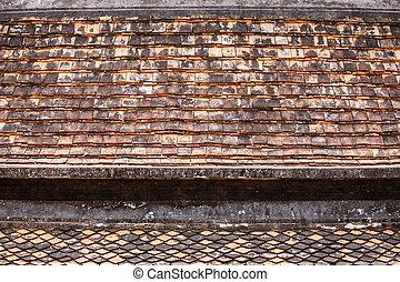tailandia, vecchio, tempio, tetto