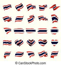 tailandia, vector, bandera, ilustración