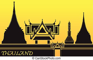tailandia, vector, ilustración, logotipo
