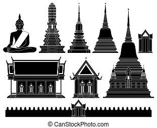 tailandia, vector, templo