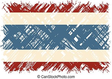 tailandia, vetorial, grunge, illustration., flag.