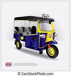 tailandia, vettore, illustrazione, tuk, automobile
