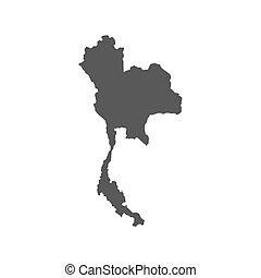 tailandia, vettore, mappa