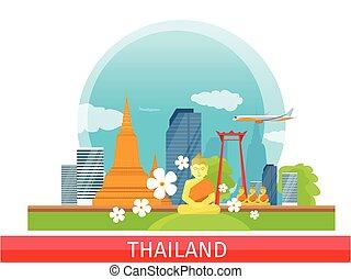 tailandia, viajar, banner., tailandés, landmarks.