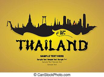 tailandia, viaje, diseño, vector