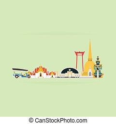 tailandia, viaje, landmarks., vector, y, ilustración