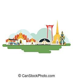 tailandia, viaje, vector, landmarks., ilustración