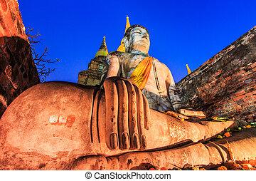tailandia, viejo, buddha, pueblo, provincia, ayuthaya