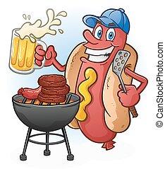 tailgating, cerveja, cão, caricatura, quentes