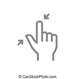 taille, icon., geste, réduire, toucher, ligne, symbole, ...