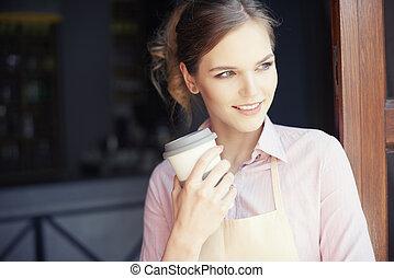 taille, von, weibliche , barmann, kaffee hat