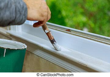 tailler, elle, couleur, cadre, fenêtre, maison, blanc, peinture