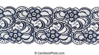 tailler, fabric., dentelle, sur, brodé, closeup, white., ruban