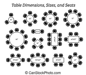 tailles, ovale, rond, seating., rectangulaire, dimensions, table