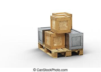 tailles, transport, chargé, boîtes, bois, différent, palette, métal