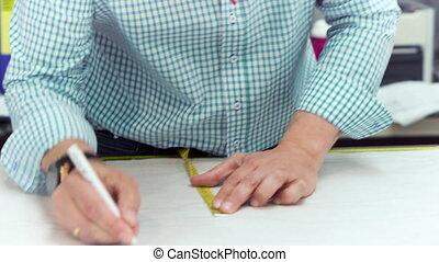 tailleur, métier, patterns., marque, papier, mains, confection, dessin