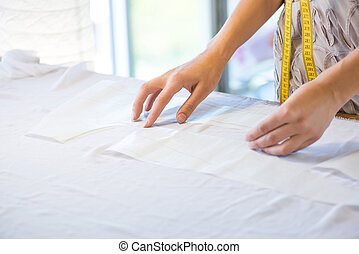 tailleur, tissu, fonctionnement, mains