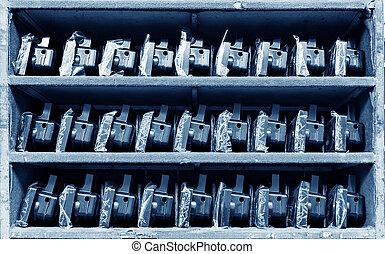 Taillights on warehouse shelves