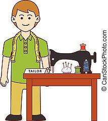 Tailor doodle cartoon